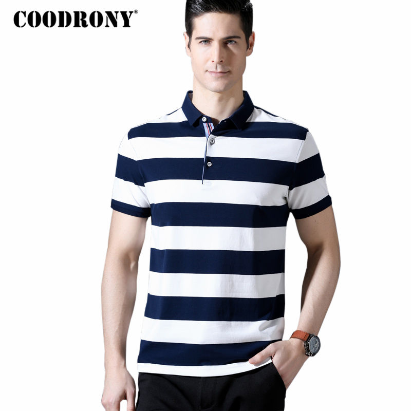 COODRONY Short Sleeve T Shirt Men 2018 Spring Summer New Arrival Cotton T Shirts Mne's Business Casual T-Shirt Striped Top S8605