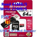 Sealed Real Transcend 32GB 64GB MicroSD MicroSDXC Micro SD SDXC Card 45MB/S class 10 UHS-1 TF Memory Card + USB 3.0 Card Reader