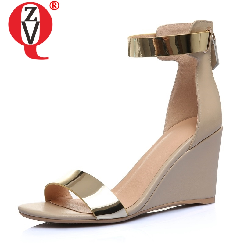 ZVQ shoes woman 2019 summer new fashion high wedges zipper genuine leather woman sandals outside black