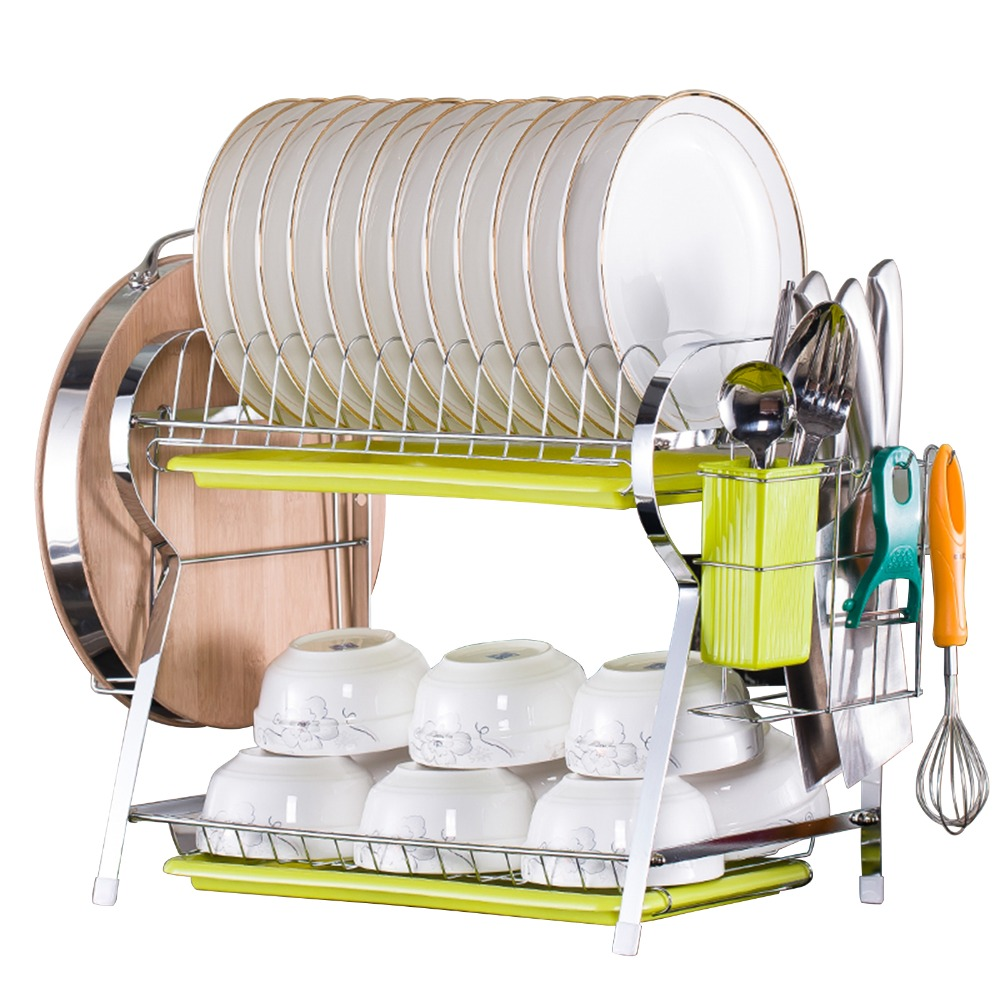 2 Tier R Shaped Dish Drainer Stainless Steel Drying Rack Bowl Dish