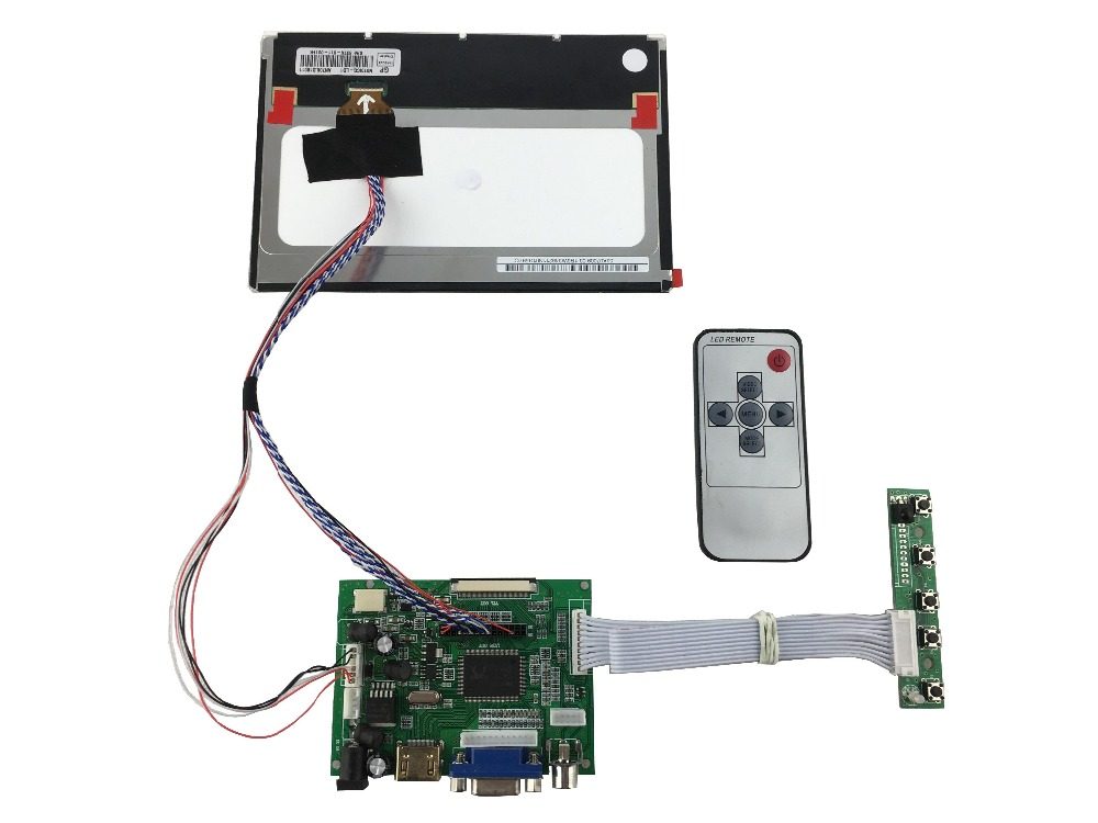 HDMI+2AV+VGA  LCD controller board  +IPS 7 inch lcd kits N070ICG-LD1 1280*800+LVDS cable +Remote control  +OSD keypad with cable hdmi vga 2av lcd controller board work for 7inch hsd070pww1 ips lcd panel