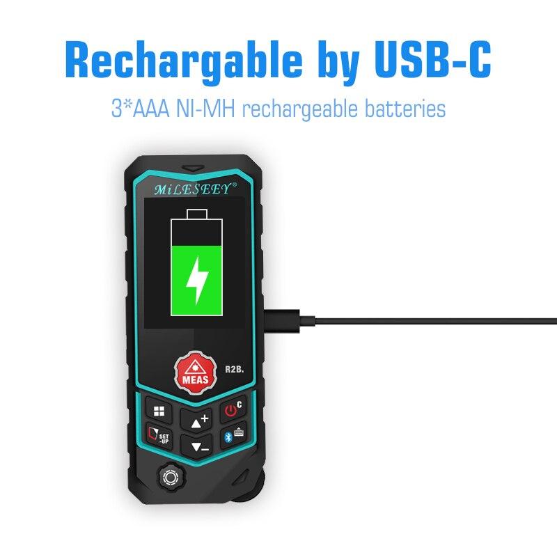цена Mileseey Laser Distance Meter R2 Laser Rangefinder Laser Tape Range Finder ruler Diastimeter Measure Roulette Free Shipping