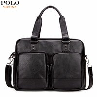 VICUNA POLO Promotion Big Size Men Travel Bags With Large Pockets High Quality Black Leather Travel