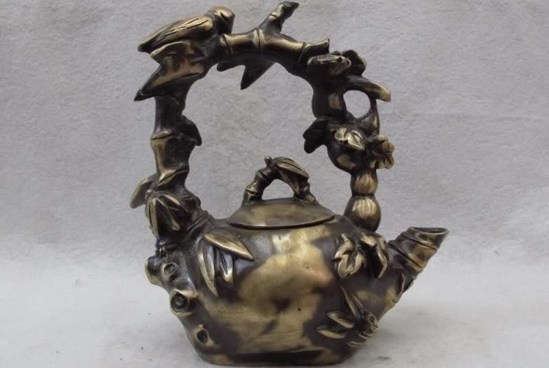 Chinese Folk Classic Bronze Copper Feng Shui Bamboo Cicada teapot Ti Liang pot