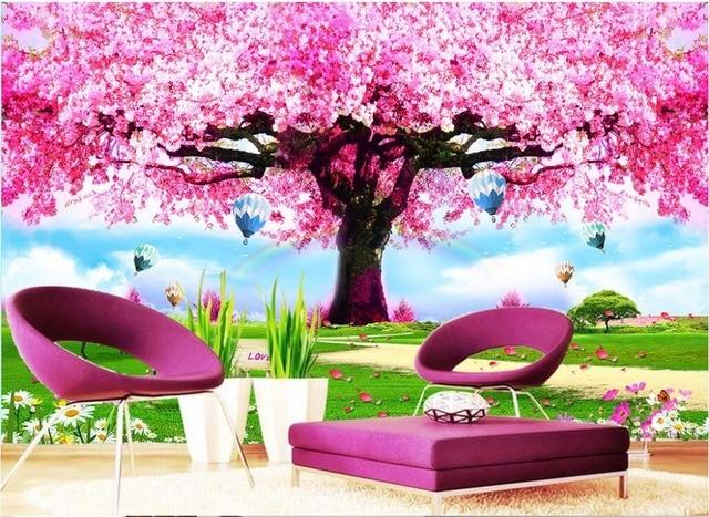 Custom foto 3d behang roze romantische kersenbloesem boom kamer