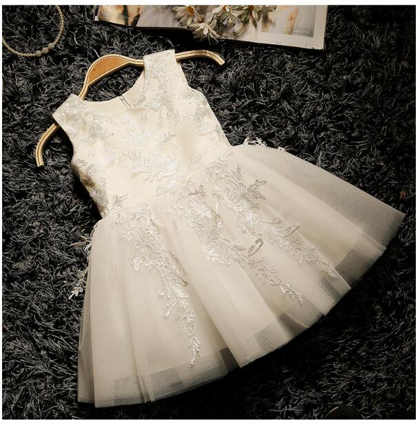 Girl's Formal Dress 2018 Flower Wedding Dresses Cute Kids Gauze Lace Birthday Party Ball Gown Children's Prom Dress White 3-13Y girl s formal dress 2018 flower girls wedding dresses kids gauze sequins party ball gown children s long prom dress white 3 13y