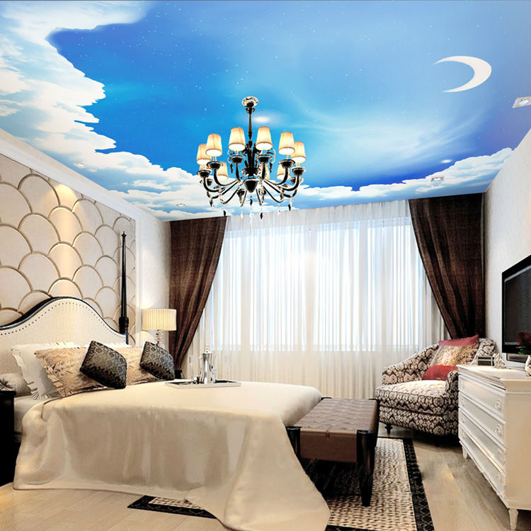 Buy Blue Sky Photo Wallpaper 3d Galaxy Wallpaper Stars Moon Ceiling Bedroom