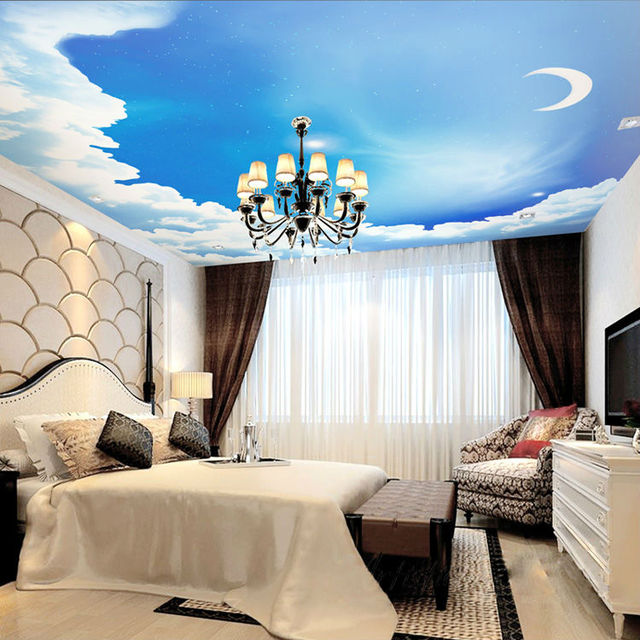 Blue Sky Photo Wallpaper 3D Galaxy Wallpaper Stars Moon Ceiling Bedroom  Kids Room Decor Bar Wedding