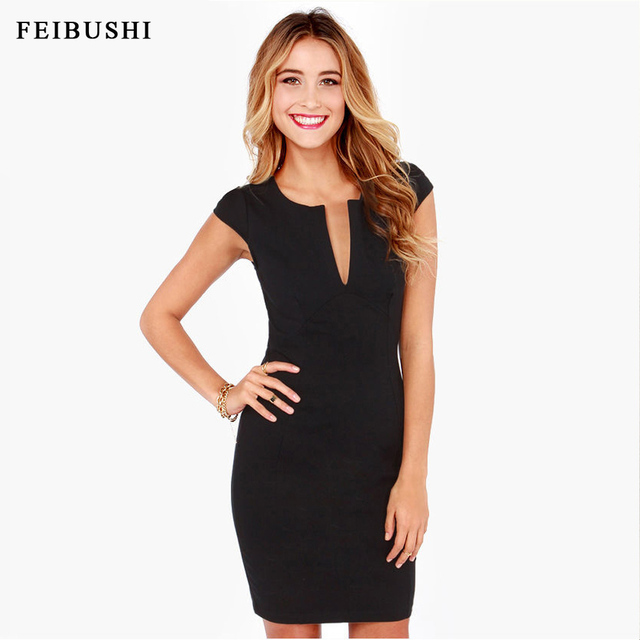 fa5f8ee1fe2 FEIBUSHI Women 2017 Summer Elegant Ladies Office Dress Work Wear Sleeveless  V Neck Work Casual Pencil Dress Plus Size Black Red