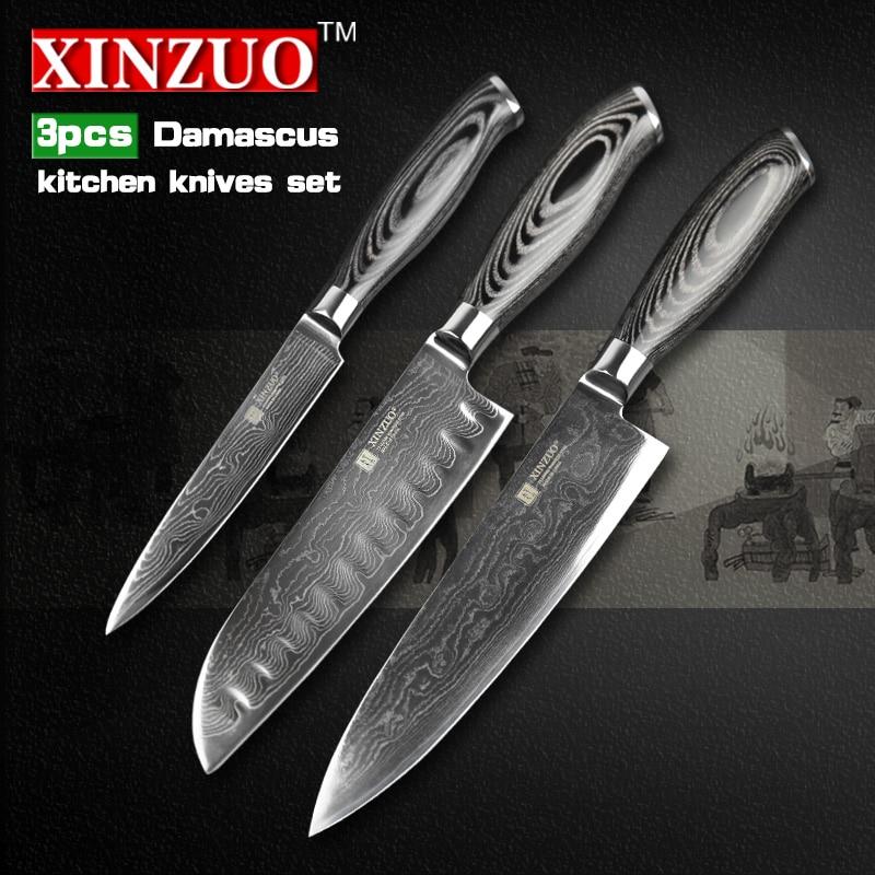XINZUO 3 pcs kitchen font b knife b font set high quality Damascus kitchen font b