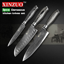 XINZUO 3 pcs kitchen knife set high quality Damascus kitchen knife Japanese chef utility knife color wood handle free shipping
