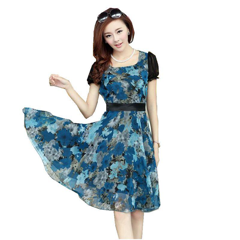 2017 Summer New Fashion Women Dress Round collar Pullover Printing Chiffon Dress Casual Patchwork color Big yards Dress SJ408