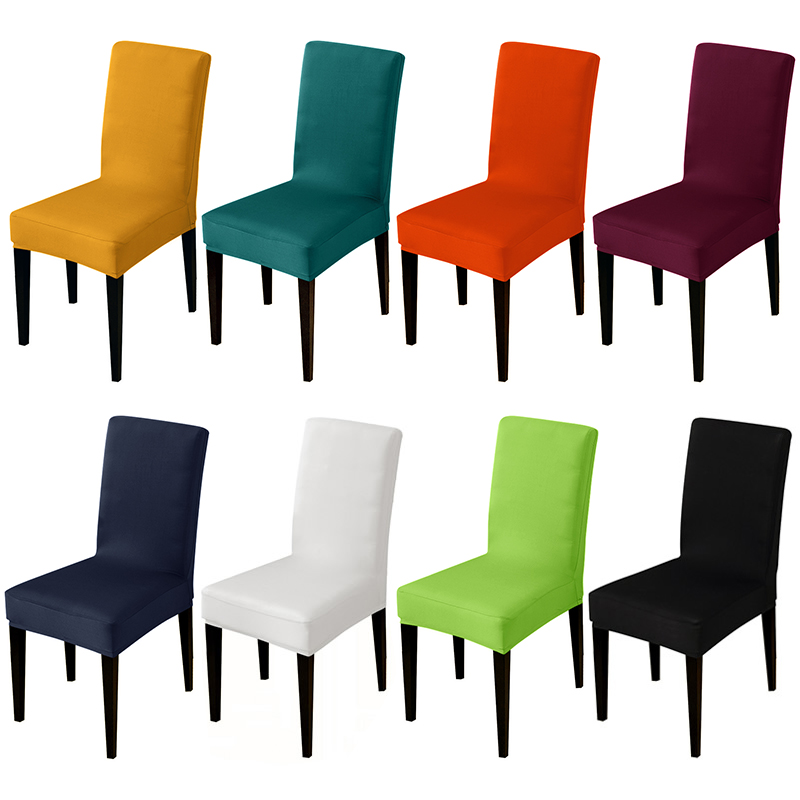 Pure Color Stretch Chair Cover Seat Covers Slipcovers Hotel Banquet Housse De Chaise Armchair Elastic Christmas Office Chair