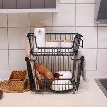 Скандинавская корзина для хранения из кованого железа, кухонная корзина для хранения фруктов, Настольная корзина для мусора с ручкой, стеллаж для хранения