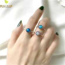 Flyleaf 925 Sterling Silver Rings For Women Colorful Natural Opal Stone High Quality Simple Fashion Fine Jewelry Open Ring Femme