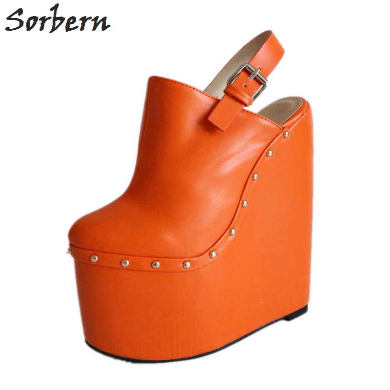 Sorbern Orange Bout Pointu Slingback Pompes Femmes Plate-Forme Personnalisée Talons Glissent Sur Coins Femmes Talons Mules Rivets Dames Taille 46