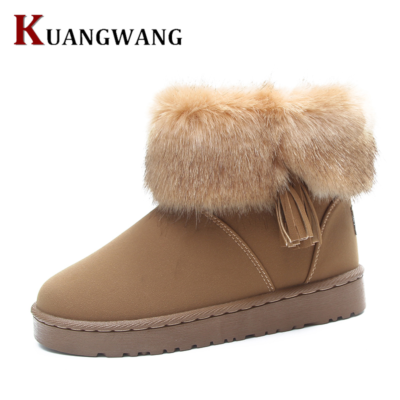 Women Flat Ankle Snow Boots Fur Boots Winter Warm Snow Shoes Round-toe Female Flock Leather Women Shoes warm women winter boots women ankle snow boots cowhide sweet flowers round the end of short barrels bread shoes mianxie