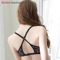 Women Sexy Front Closure Lace Push Up Bralette Seamless Underwire Solid Lingerie Underwear Bra