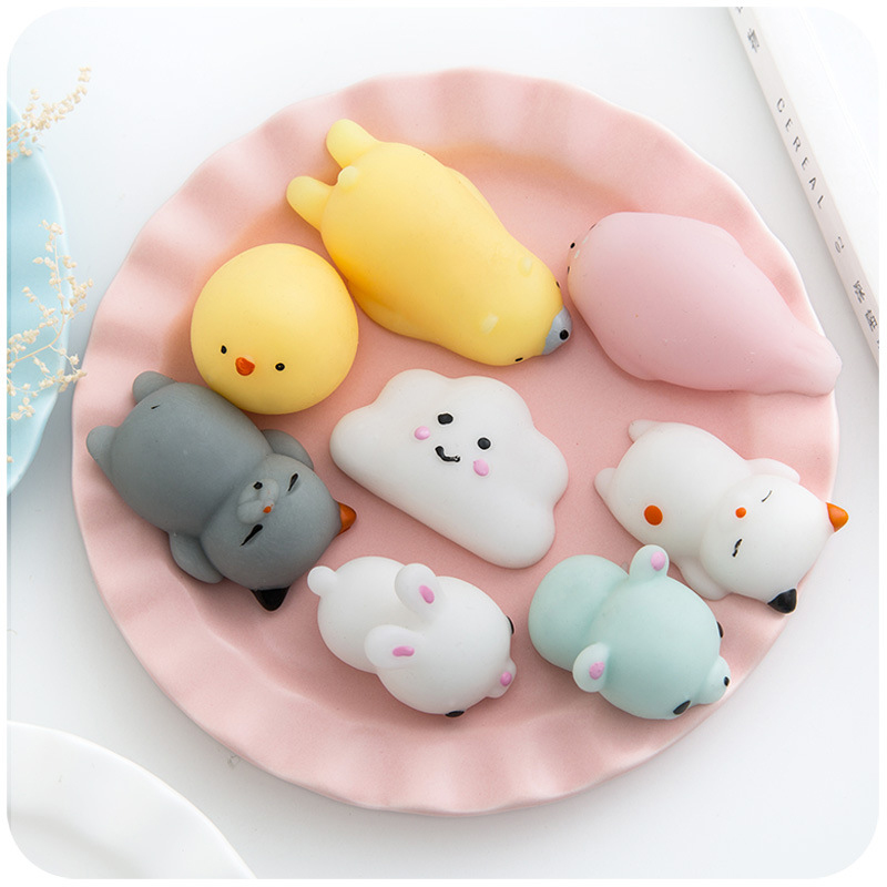 10pcs Novelty squishy Antistress Squeeze Ball Toy Cute Seals Animals Emotion Vent Ball Resin Doll Stress Reliever Toy Gift #B pop out eyes doll stress reliever relief squeeze toy frog green