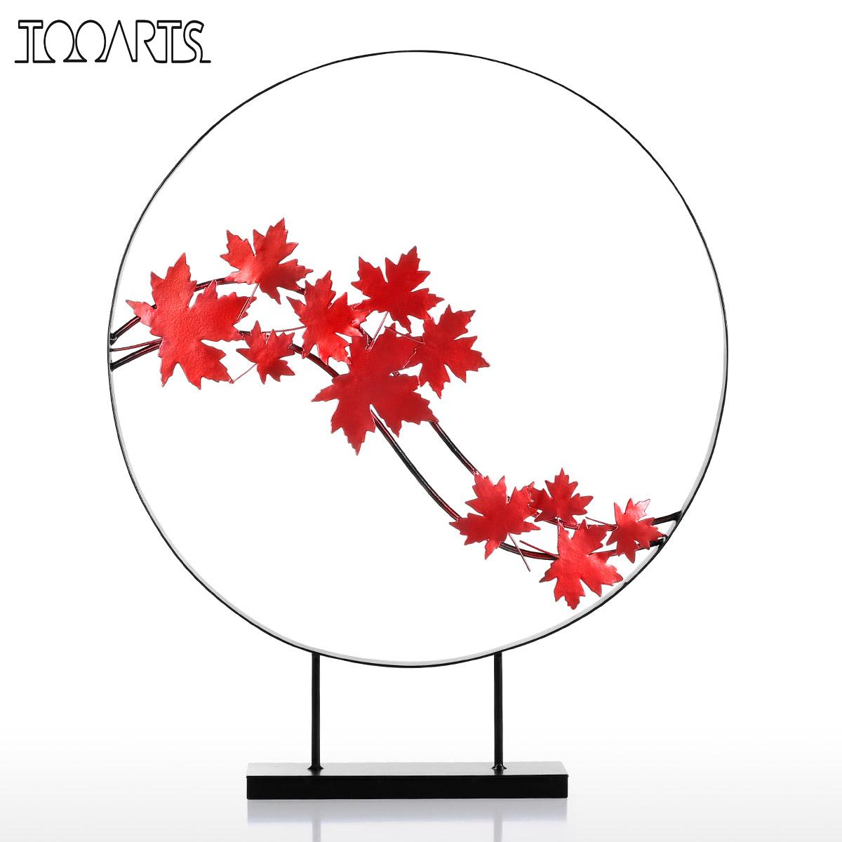 Tooarts Tomfeel Maple Leaf Ornament Iron Sculpture Abstract Modern Sculpture Iron Circle Home Decor Modern Concise Artwork