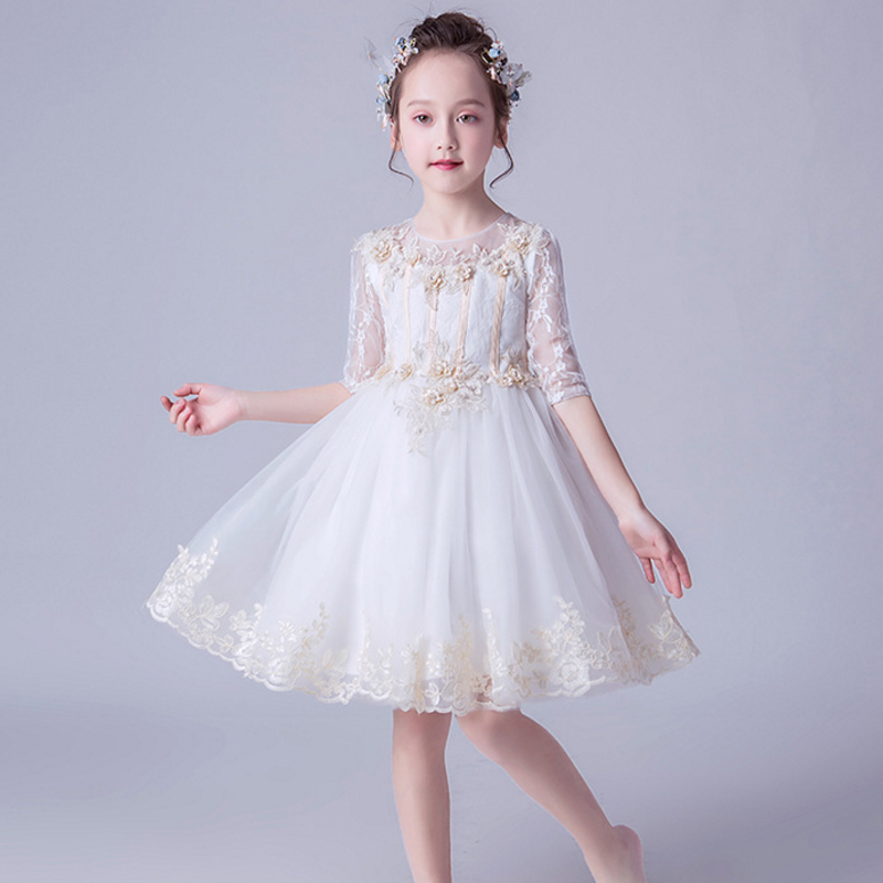 Kids Girl Flower  Dress Princess Lace Tulle Tutu Gown Formal Party Baptism Dress