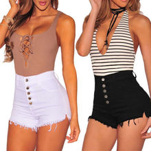 Women Hot Summer Casual Black White Colors Button High Waist Cotton Shorts