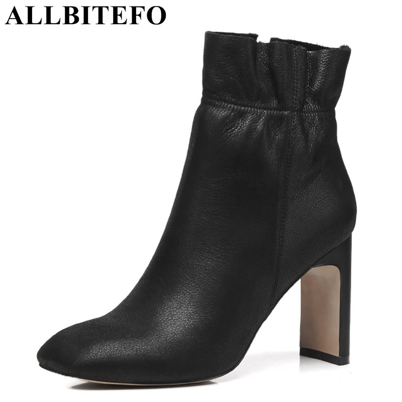 ALLBITEFO fashion genuine leather square toe thick heel women boots high heel shoes martin boots winter girls boots size 33-43 allbitefo golden zip decorate fashion spring winter snow shoes genuine leather pu women boots casual knee high boots size 33 43