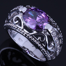 Elegant Oval Purple Cubic Zirconia White CZ 925 Sterling Silver Ring For Women V0646