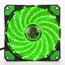 Gaya baru Asli 15 Lampu LED Diam Fan PC Komputer Chassis Fan Kasus Heatsink Cooler Cooling Fan DC 12 V 4 P 3 P 120*120*25mm(China)