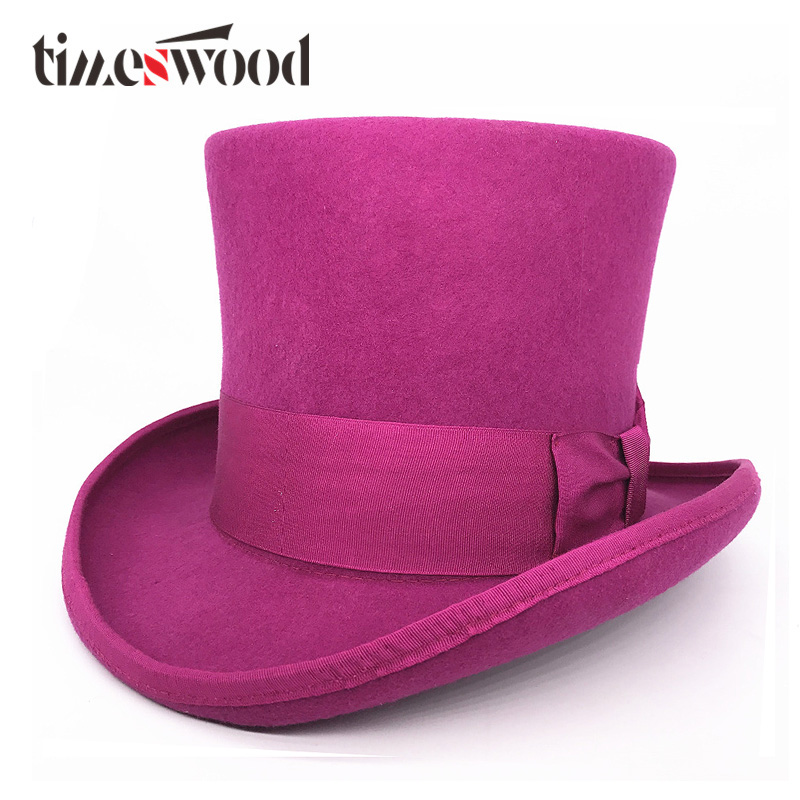 18 0 cm 7 1 inch Purple Wool Fedoras Hat President Top Hat for Magician Caps