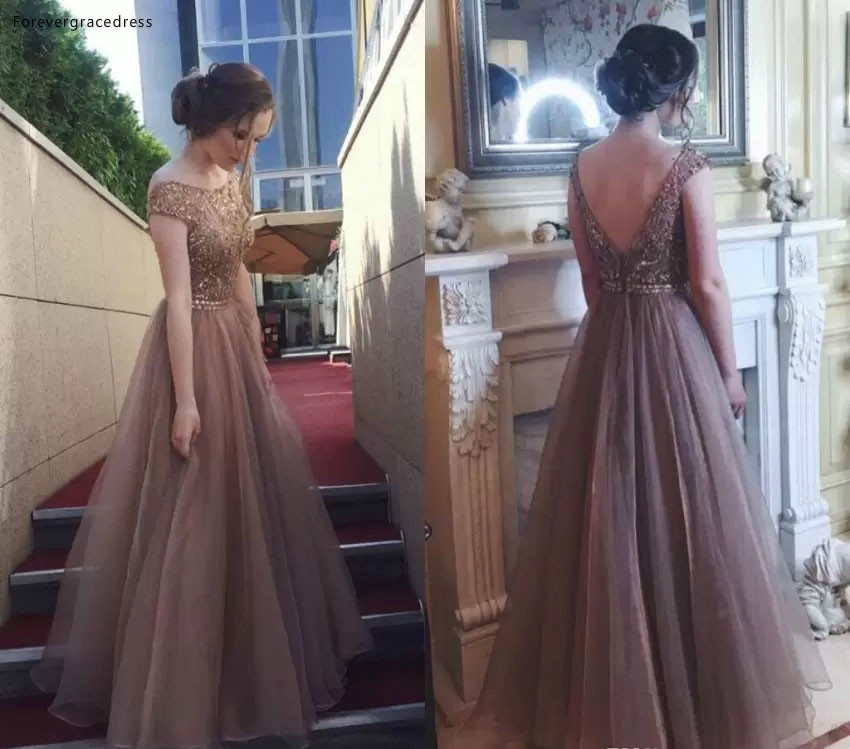 2019 Cap Sleeves   Prom     Dress   Puffy A Line Backless Formal Pageant Holidays Wear Graduation Evening Party Gown Plus Size