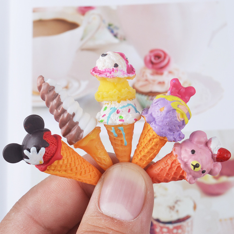 5pcs/lot Doll Re-ment Miniature Pretend Toys Mini Resin Ice-cream Play Food For Blyth Bjd Dollhouse Kitchen Ice Cream For Barbie