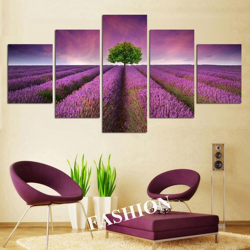 NO okvir 5pcs Provansa sivka modularne slike cvetje platno slikarstvo - Dekor za dom - Fotografija 4