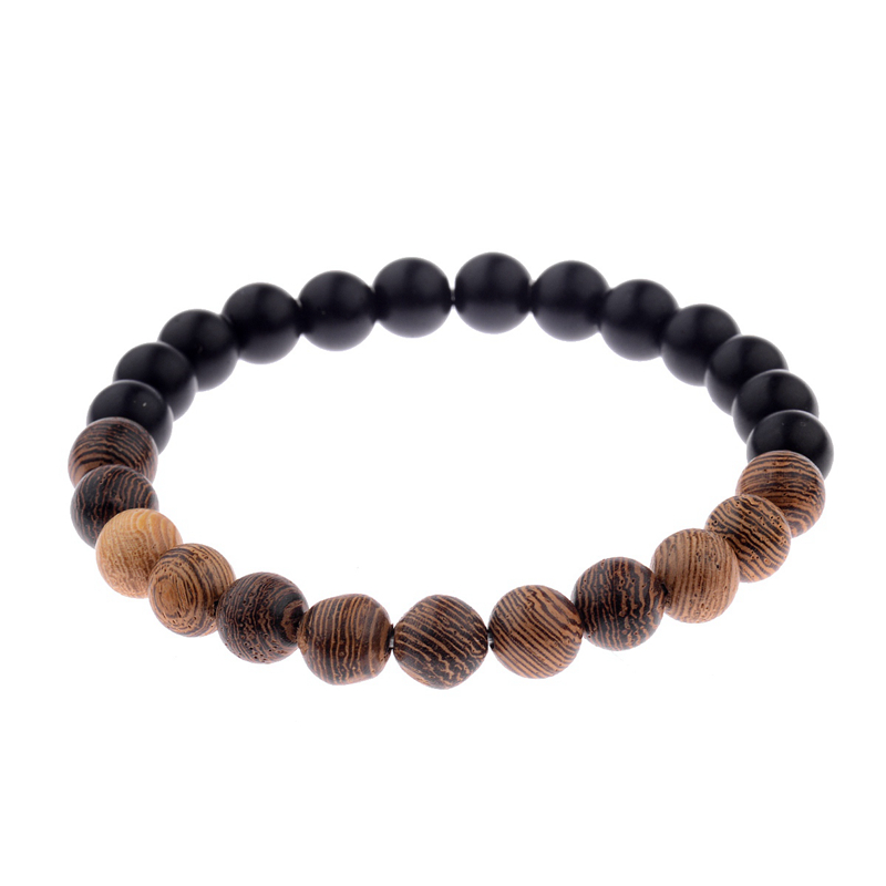 8mm New Natural Wood Beads Bracelets Men Black Ethinc Meditation White Bracelet Women Prayer Jewelry Yoga Bracelet Homme HTB17DfRbtzJ8KJjSspkq6zF7VXap