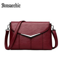 Bonsacchic Small Red Black Women Messenger Bags Famous Brand Sequined PU Leather Handbags For Women Shoulder