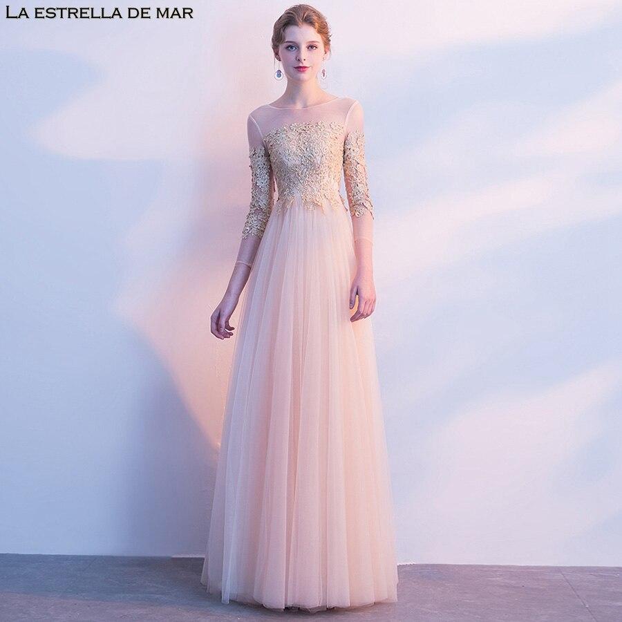 Robe demoiselle d'honneur2018 New Lace Long Sleeve a Line Champagne   Bridesmaid     Dresses   High quality vestido de festa longo
