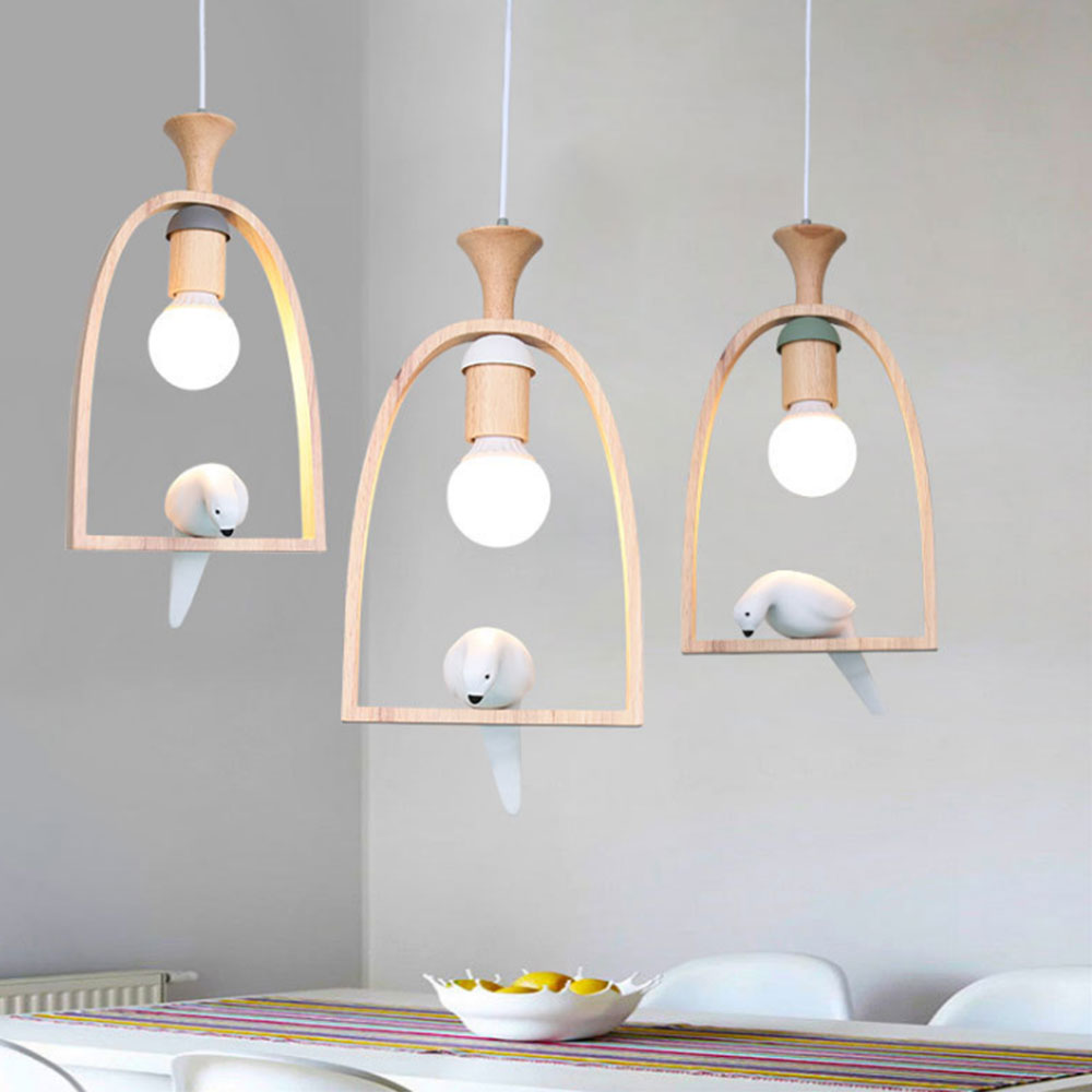 Nordic Creative Bird Wood LED Light Pendant Lamp E27 LED Hanging Light Living Room Restaurant Cafe Dining Room Chandelier MYNordic Creative Bird Wood LED Light Pendant Lamp E27 LED Hanging Light Living Room Restaurant Cafe Dining Room Chandelier MY