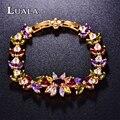 LUALA Marca Mulheres Novas Pulseiras Para As Mulheres de Jóias de Luxo Flor Colorida Cúbicos de Zircônia Pulseira de Charme Romântico B0020B