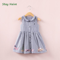 Stay Naive Girl S Clothes 2017 Summer New Children S Dolls Striped Sailboat Cartoon Pattern Printed