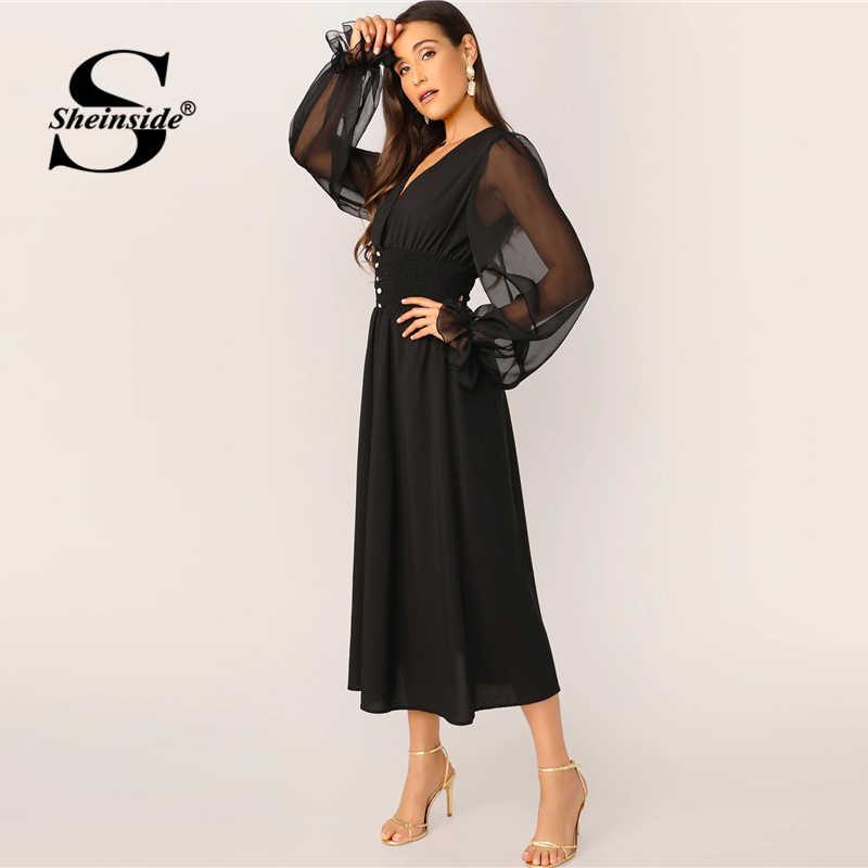 Sheinside элегантное платье с v-образным вырезом на пуговицах платье Для женщин 2019 на весну Сетчатое платье-фонарь рукав Лоскутные платья женские однотонное платье трапециевидной формы