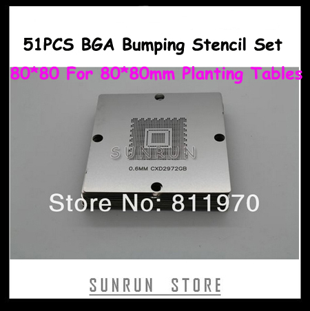 NEW 80*80mm BGA Stencils Kit ! 51PCS BGA Bumping Stencil Set 80*80mm Reballing Steel Nets/Stencils For 80*80mm Reballing Machine free shipping 10pcs lot pu 6 pneumatic fitting plastic pipe fitting pu6 pu8 pu4 pu10 pu12 push in quick joint connect