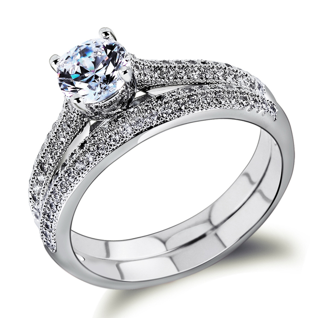 New Style Elegant Wedding Rings Top Grade Zirconia Crystal Double Finger Free Nickel Real Gold
