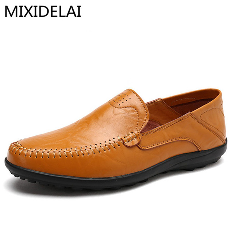 2019 New Comfortable Handmade   Leather   Shoes Casual Mens Flats Design Men Driving Shoes Soft Bottom   Leather   Men Shoes Size 38-47