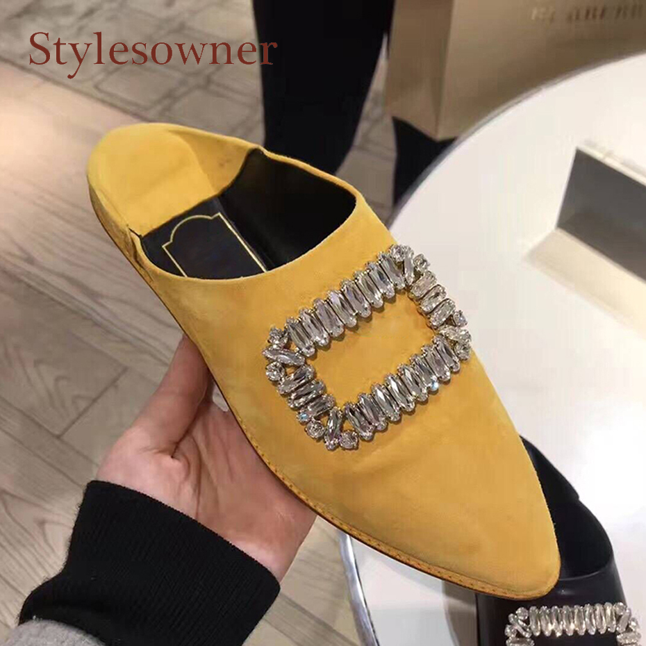 Stylesowner spring summer new pointed toe low heel crystal casual shoes rhinestone buckle decor slip on cozy women half slippers цена 2017