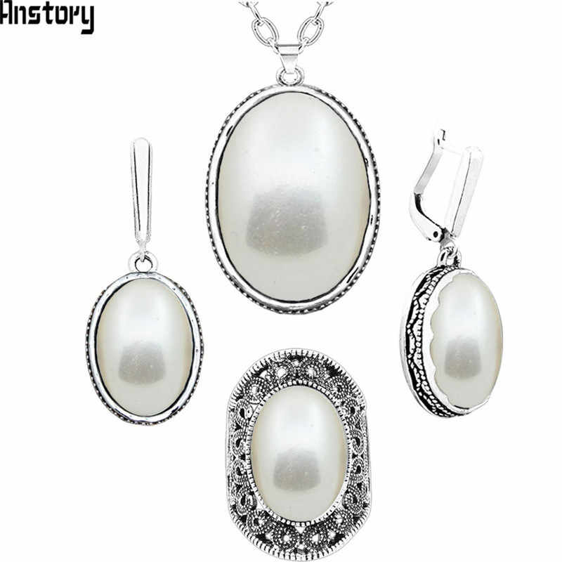 Oval Purple Resin Jewelry Set Choker Necklace Earrings Rings For Women Antique Silver Plated Stainless Steel Chain TS370
