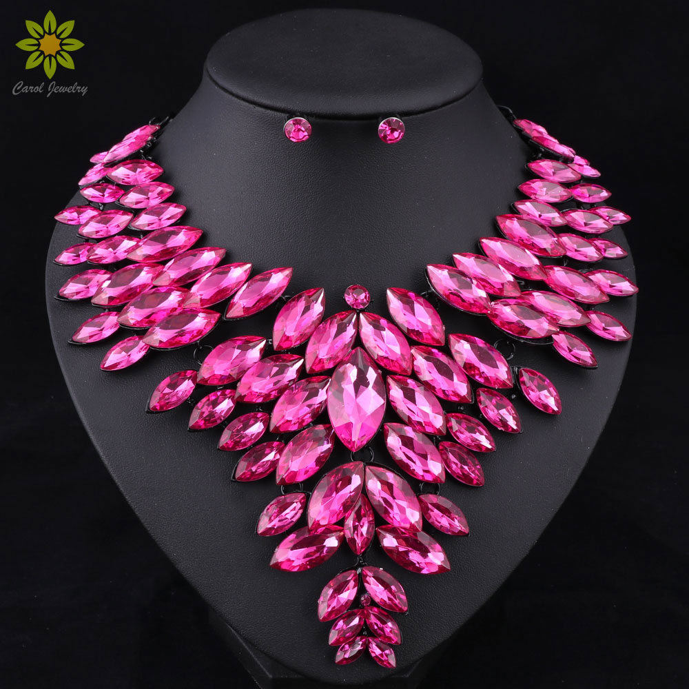 7Colors African Bead Jewelry Sets Wedding Necklace Womens Jewellery Set Crystal Necklace And Earrings Sets Party Wedding Prom