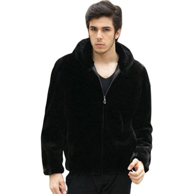 Плюс Размер XXXL 2016 новый зимний искусственного меха пальто Мужчины черный теплый моды Мягкие и удобные толстые куртка с капюшоном мужской шуба