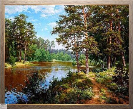 Cross Stitch Kits Crafts 14CT Unprinted Landscapes, River Forest Embroidered Handmade Art DMC Oil Painting Set Wall Home Decor
