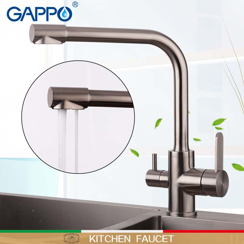 GAPPO Kitchen Faucets Griferia With Filtered Water Taps Stainless Kitchen Faucets Drinking Water Sink Mixer Waterfall Tap