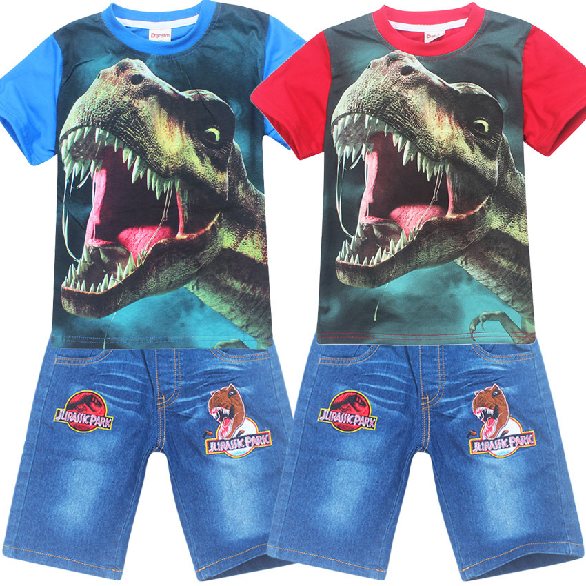 Children clothing summer casual boys short sleeve dinossauro Jurassic t-shirt+pants suits cotton girls clothes sets коврик для ванной комнаты tatkraft london city 50 х 80 см